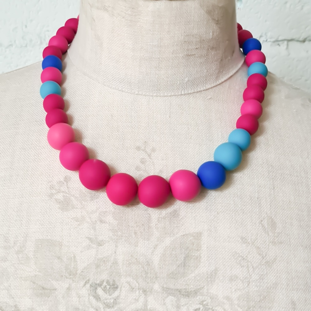 Graduated Bead Necklace in Bright Pink and Blue