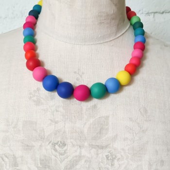 Graduated Bead Necklace in Bright Rainbow Multi Colours