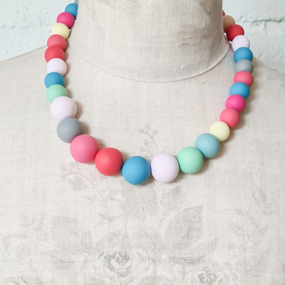 Graduated Bead Necklace in Multi Colour Pastels