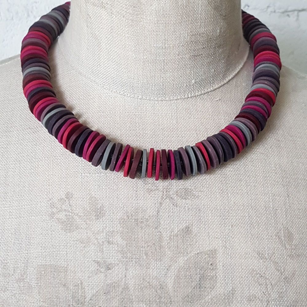 Large Disc Bead Necklace in Deep Berry Reds and Grey