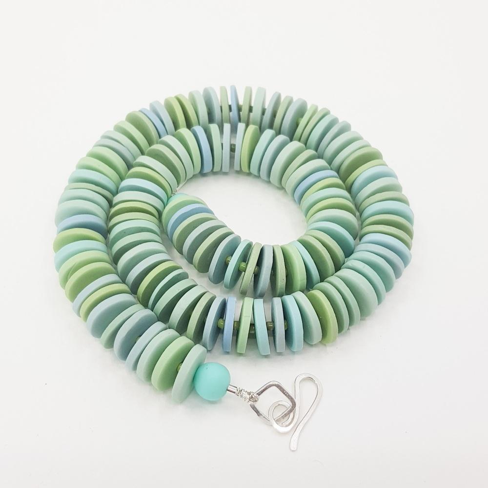 Medium Disc Necklace in Mint and Aqua