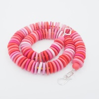 Medium Disc Necklace in Reds and Pinks