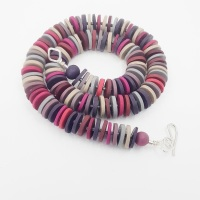 Medium Disc Necklace in Dark Reds, Purple, Grey and Taupe