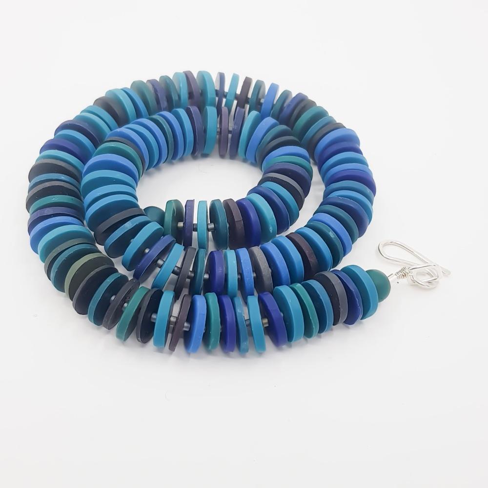 Medium Disc Necklace in Blue