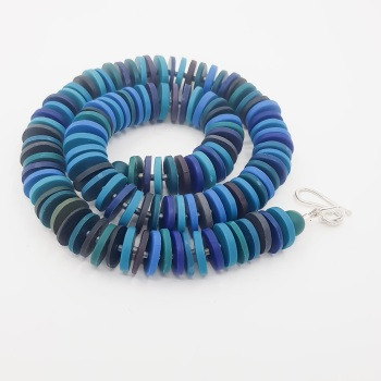 Medium Disc Necklace in Blue