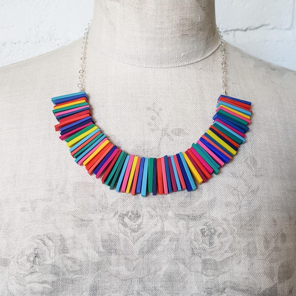 Modern Deco Necklace in Bright Rainbow Multi Colours