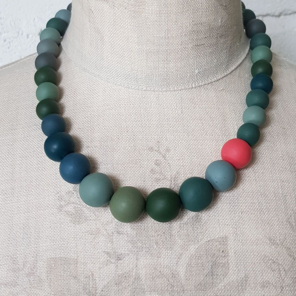 Graduated Bead Necklace in Soft Greens and Coral