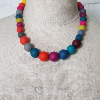 Graduated Bead Necklace in Autumnal Multi Colours