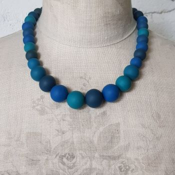 Graduated Bead Necklace in Teals and Blues