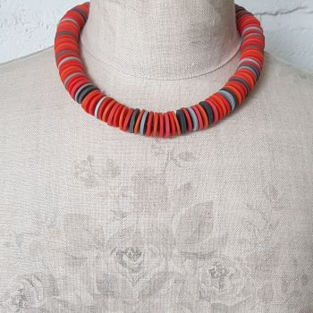 Large Disc Bead Necklace in Orange with Grey
