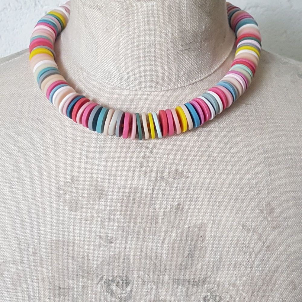 Large Disc Bead Necklace in Pastel Multi Colours