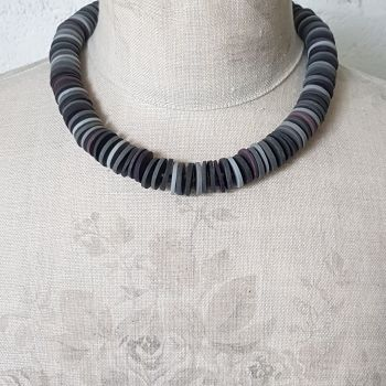 Large Disc Bead Necklace in shades of Grey and Mauve