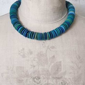 Large Disc Bead Necklace in Shades of Blue and Green