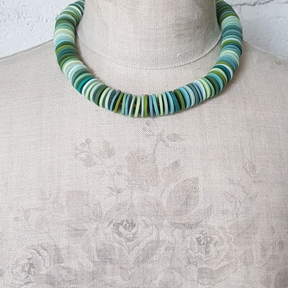 Large Disc Bead Necklace in Shades of Pale Green