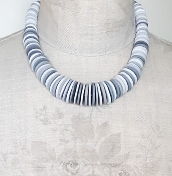 Graduated Disc Bead Necklace in Light Greys