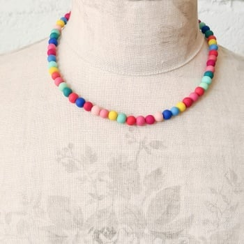 Tiny Bead Bright Multi Coloured Necklace