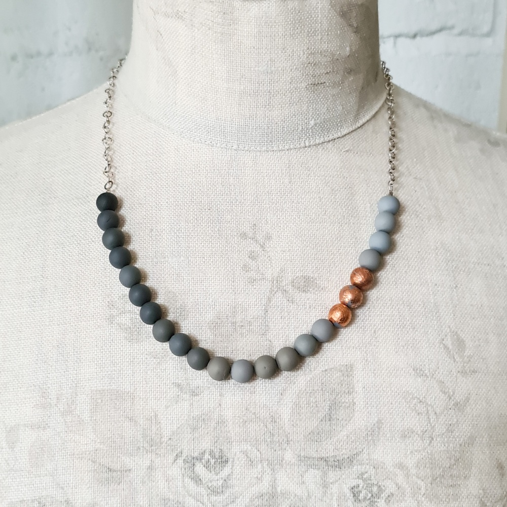 Small Beaded Sterling Silver Chain Necklace in Shades of Grey and copper leaf