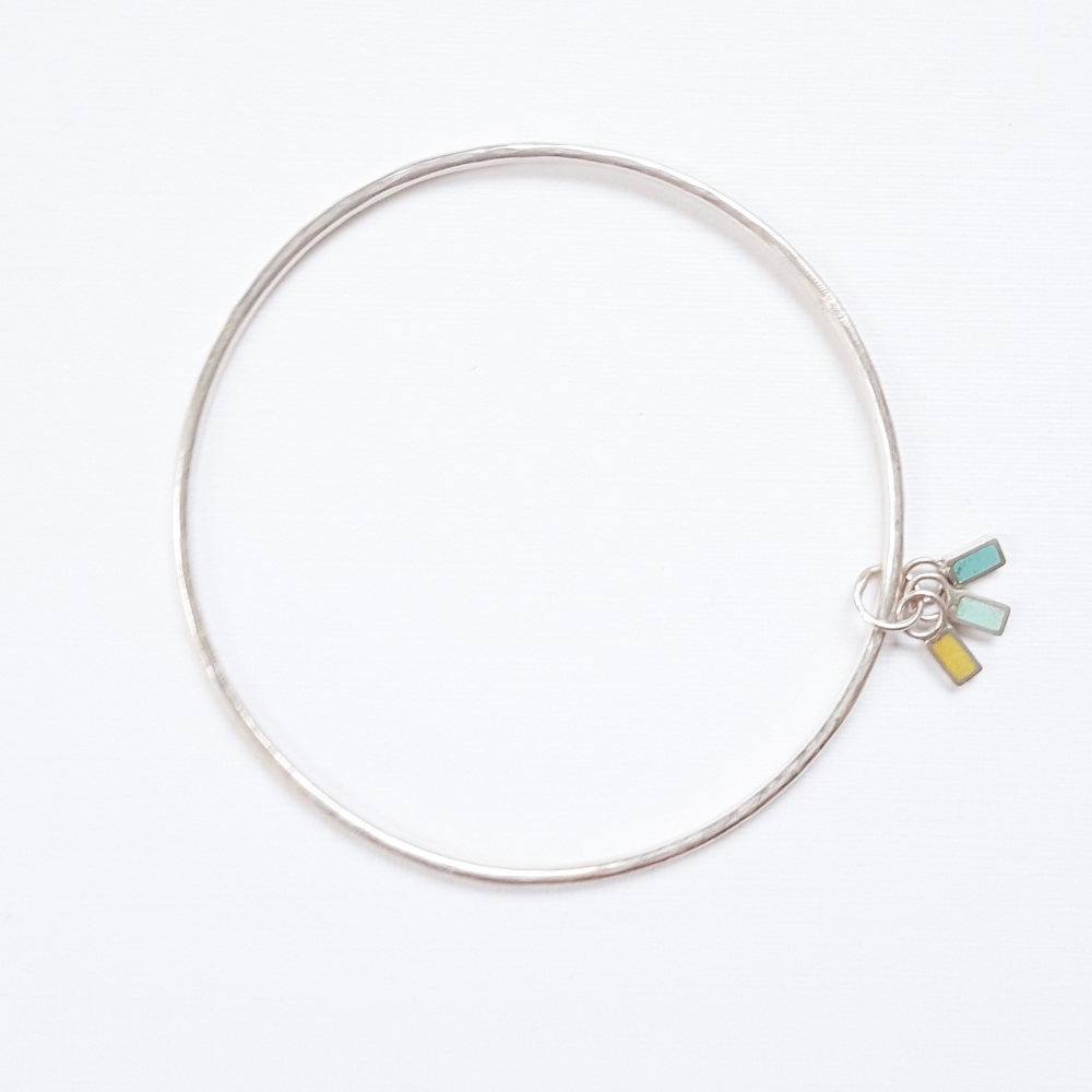 Colour Dot Bangle with Trio of Rectangle Charms in Yellow, Turquoise and Aq