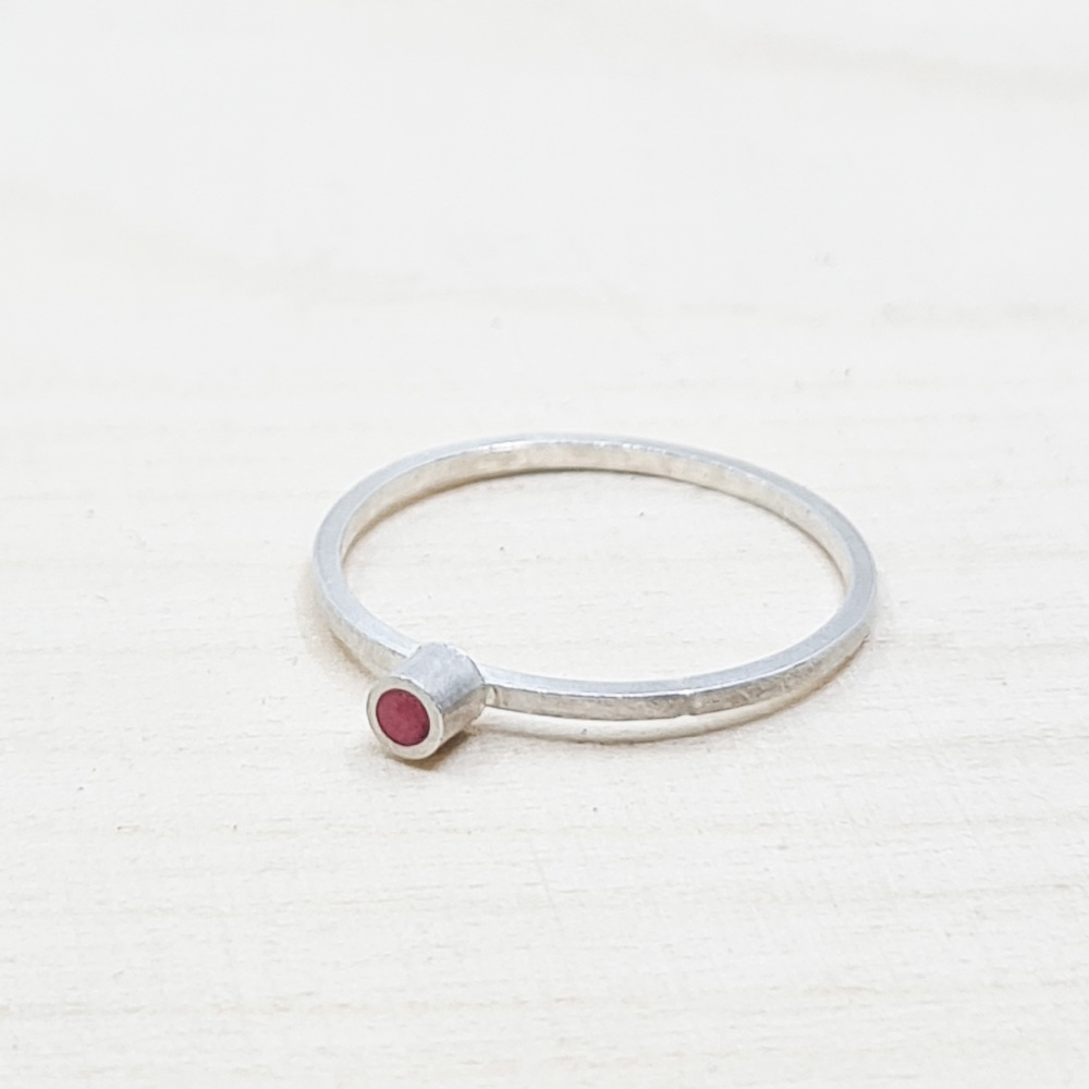 Colour Dot Stacking Ring in Red Size O 1/2