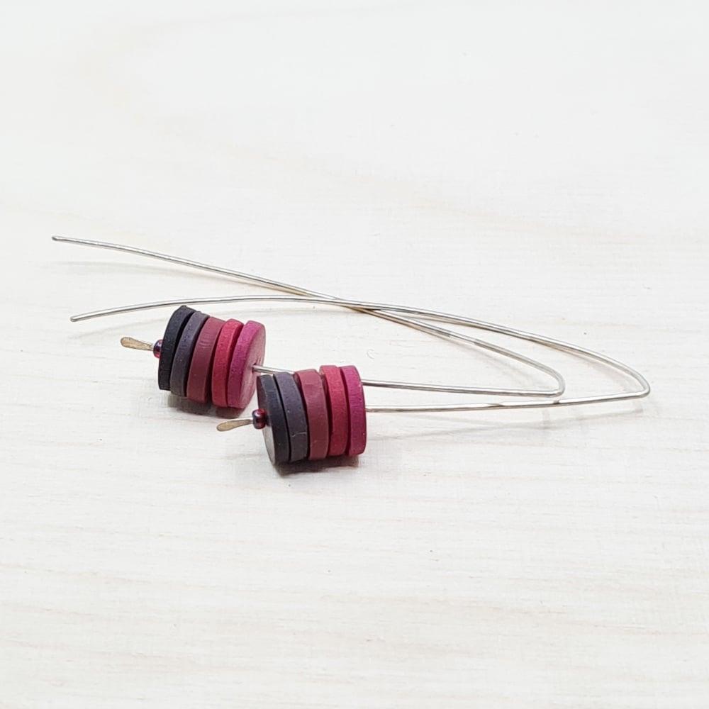 Disc Long Wire Earrings in Dark Red
