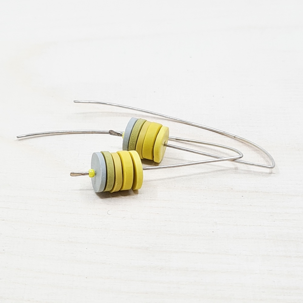Disc Long Wire Earrings in Yellow and Grey