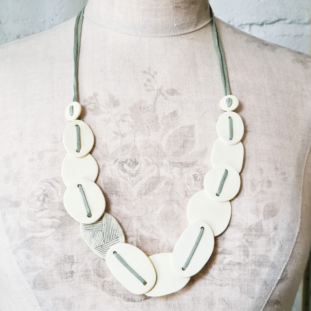 Giant Scratched Slab Bead Necklace in Pale Lemon Yellow