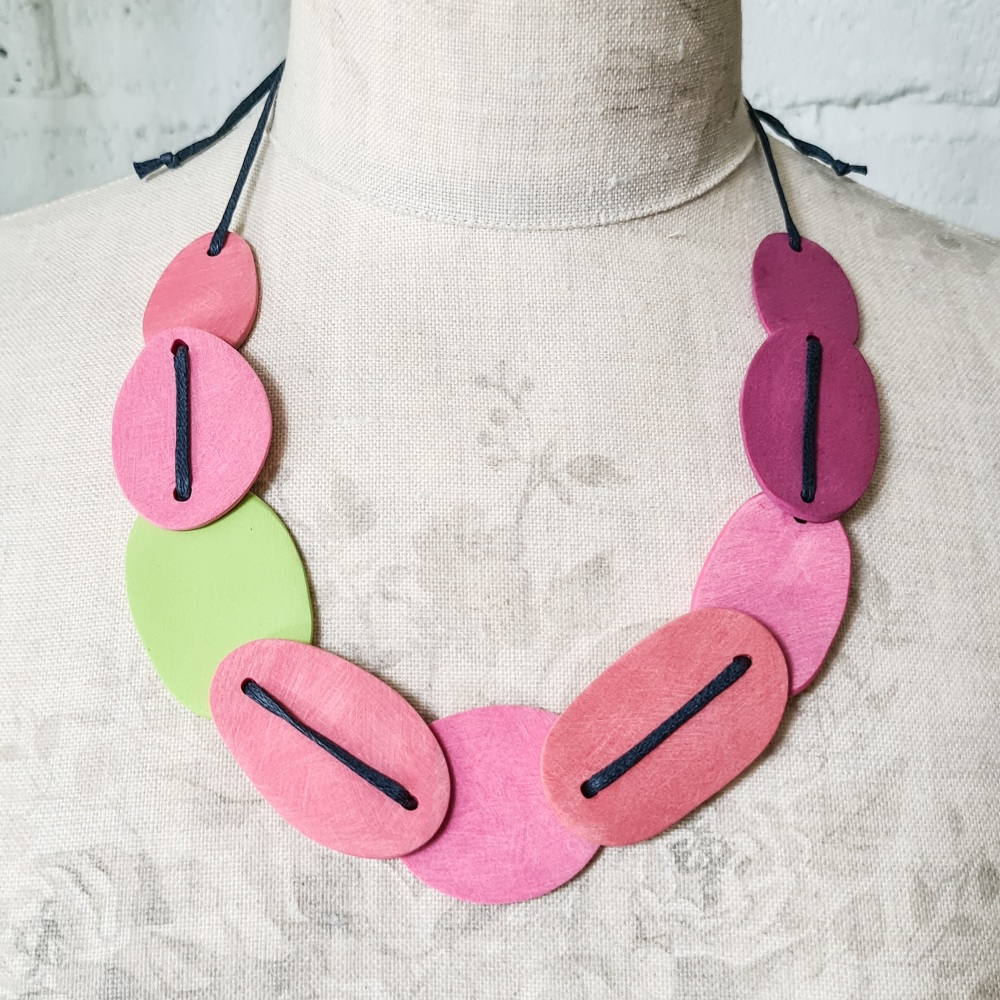 Giant Scratched Slab Bead Necklace in Pink and Green