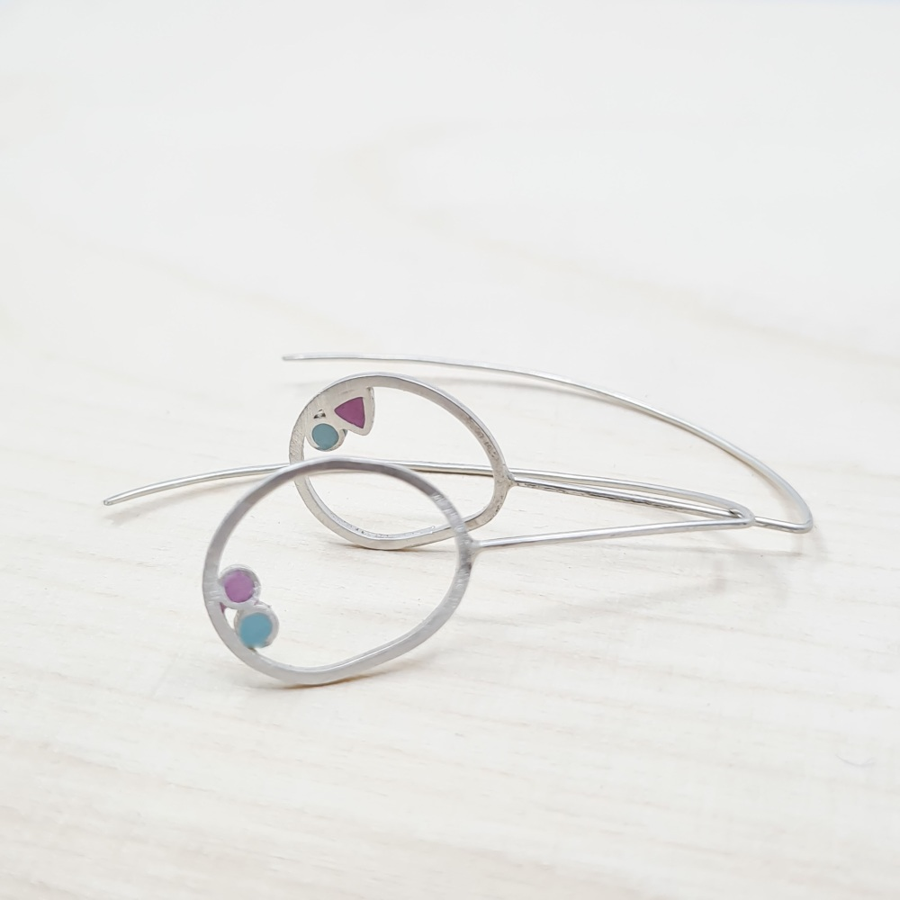 Inside Dot Long Wire Earrings with turquoise circles, pink circle and pink triangle