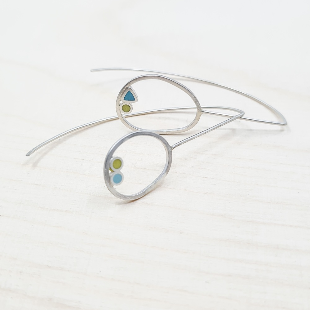Inside Dot Long Wire Earrings with turquoise circles, turquoise triangle an