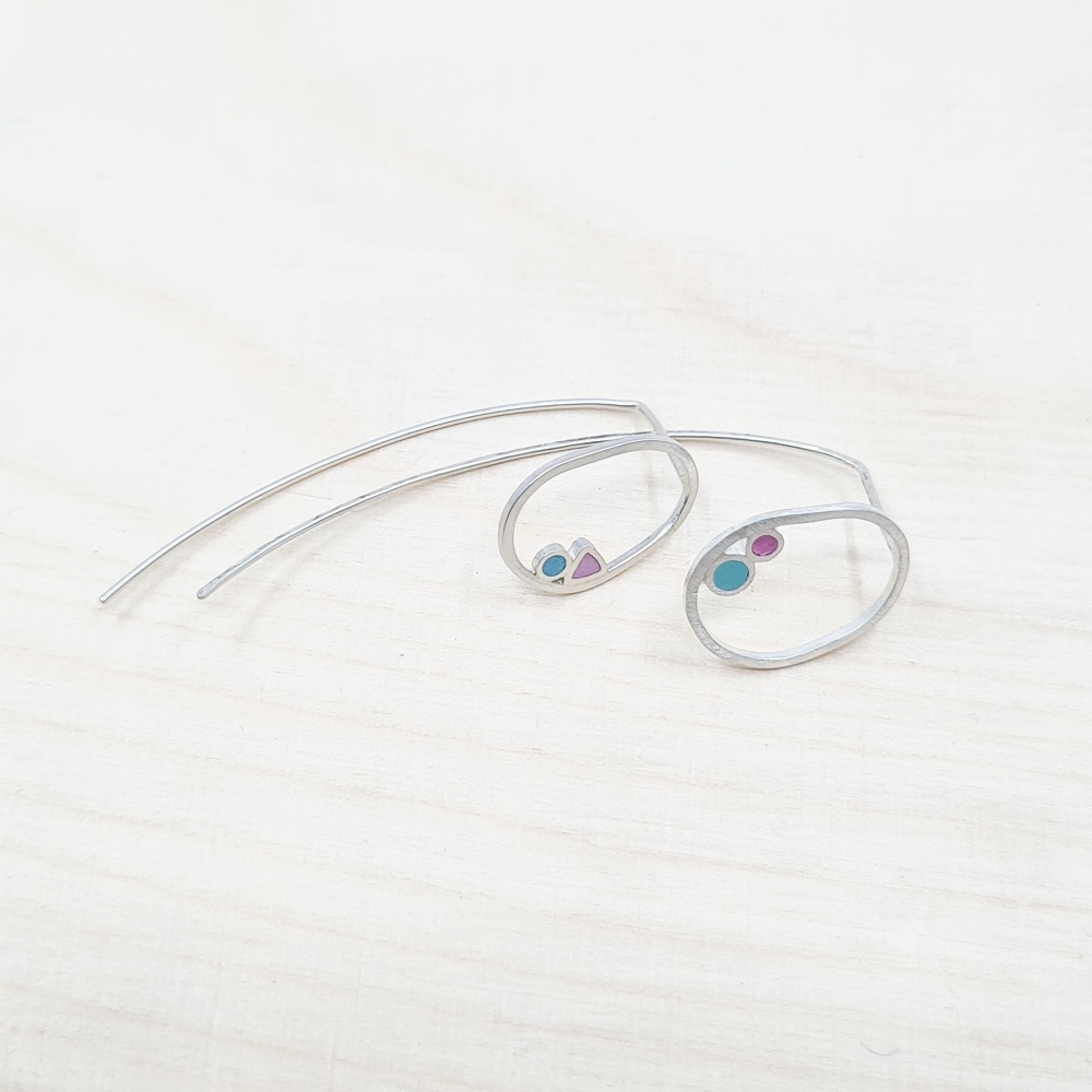 Inside Dot Mismatched Stud Earrings with Long Wire Backs - Blue and Pink Ci