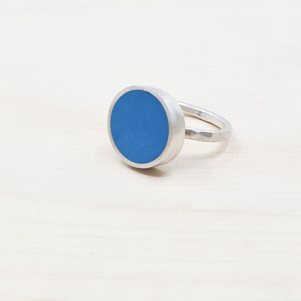Large Blue Colour Dot Ring size N