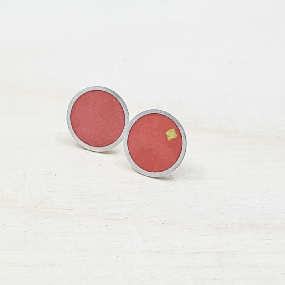 Large Colour Dot Studs in Red