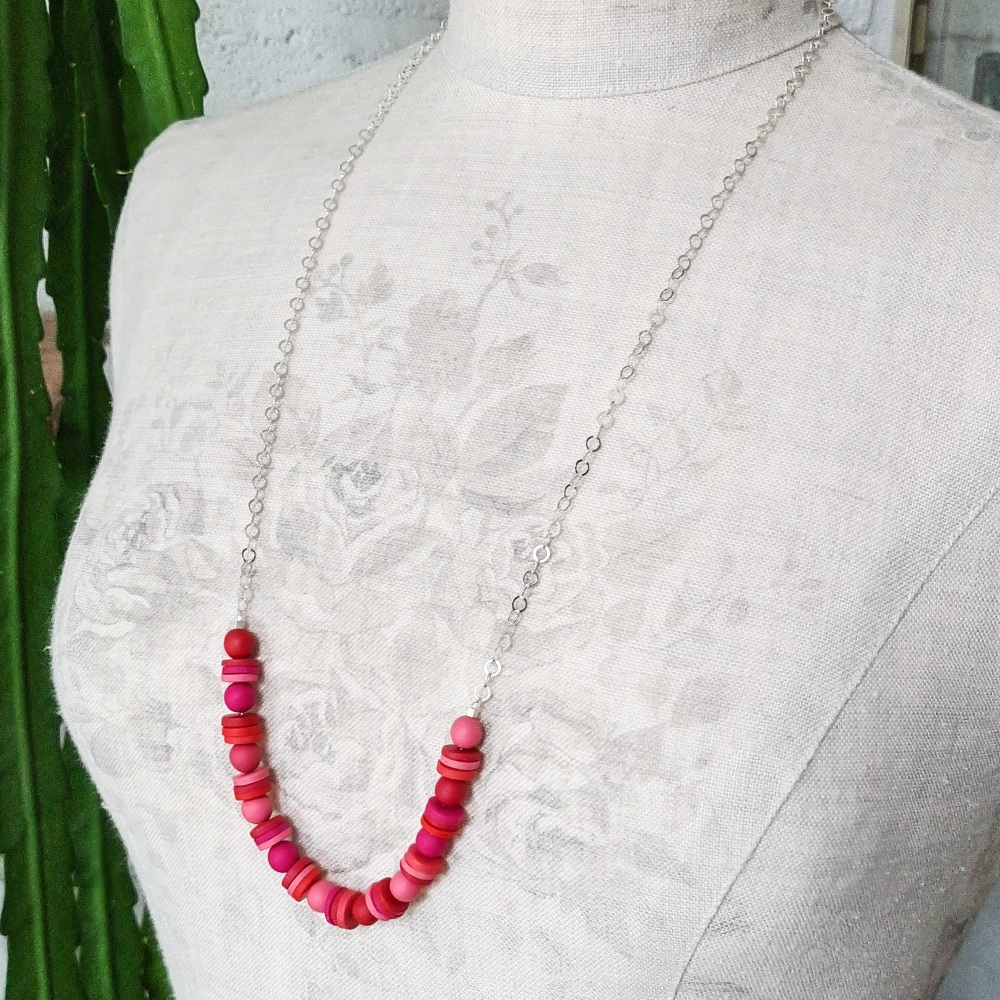 Long Chain Necklace with Pink and Red Handmade Beads