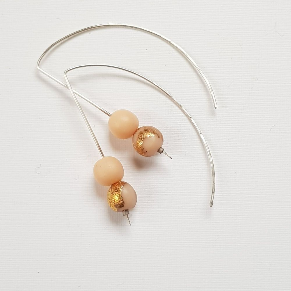 Metallic Duo Bead Long Wire Earrings in blush and gold leaf