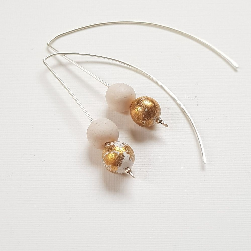 Metallic Duo Bead Long Wire Earrings in off white and gold leaf