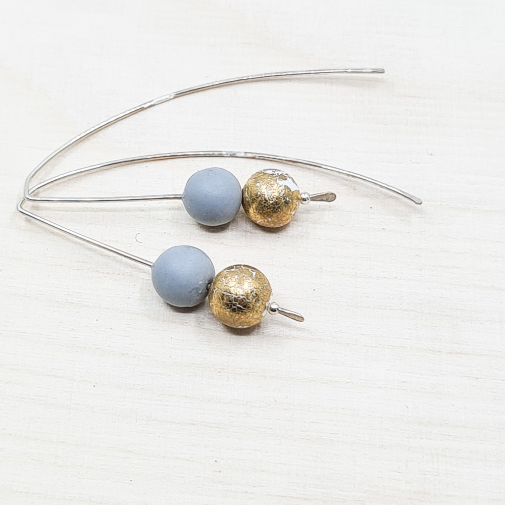 Metallic Duo Bead Long Wire Earrings in pale grey and gold leaf