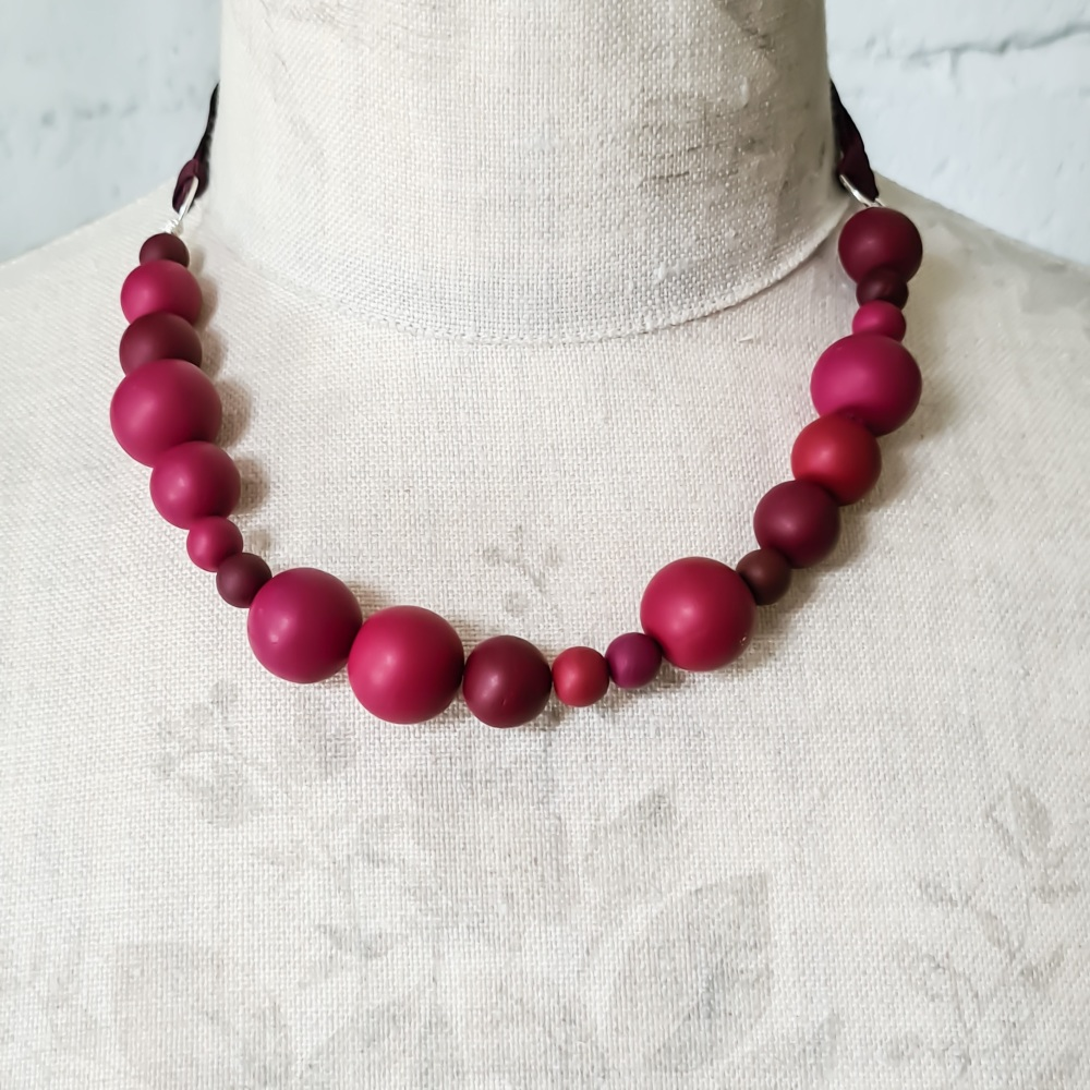 Random Bead Necklace with Ribbon Ties in Berry Reds
