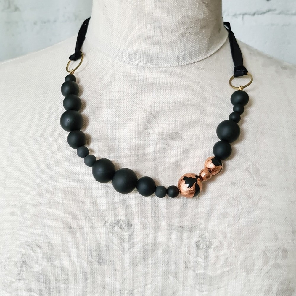 Random Bead Necklace with Ribbon Ties in Black and Copper