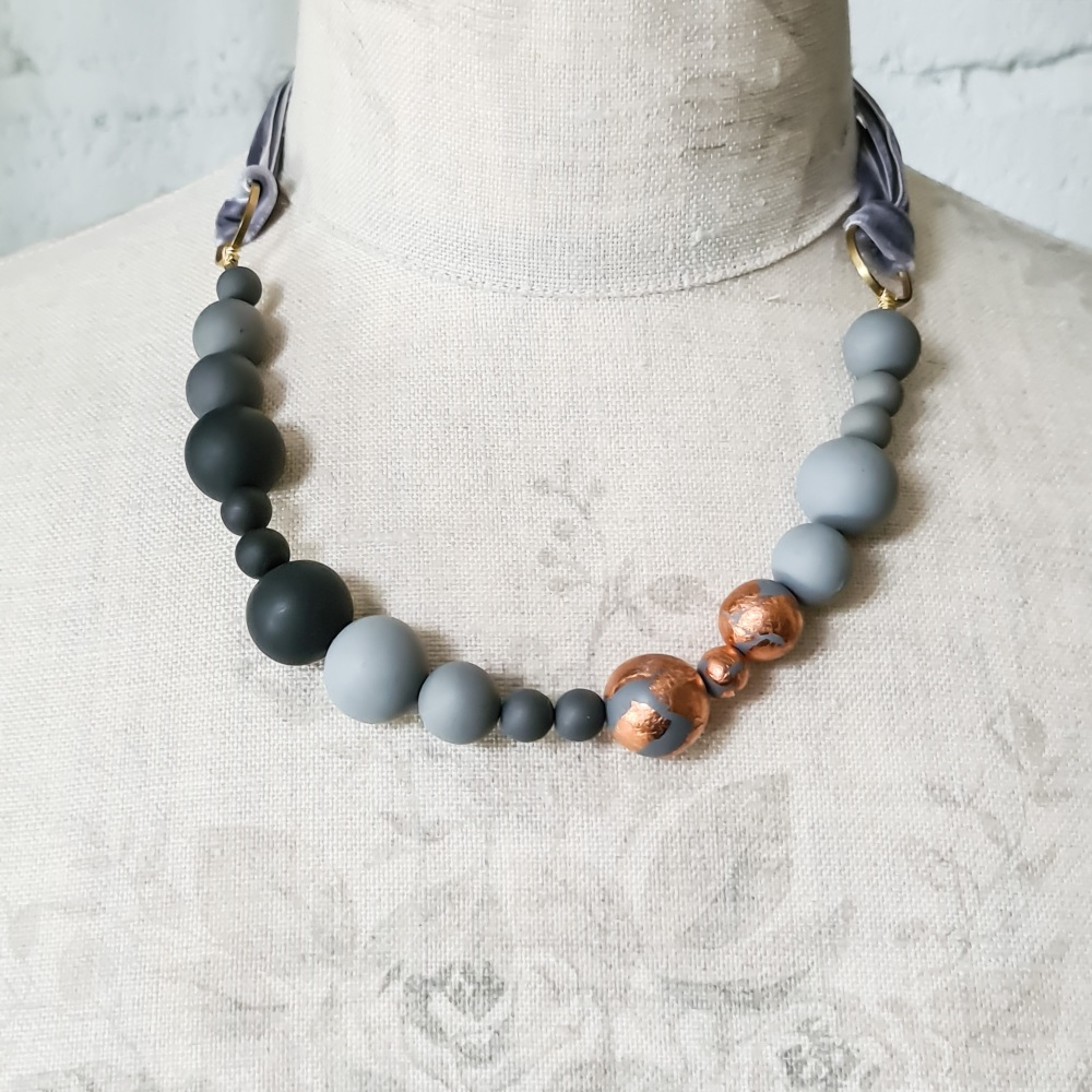 Random Bead Necklace with Ribbon Ties in Grey and Copper