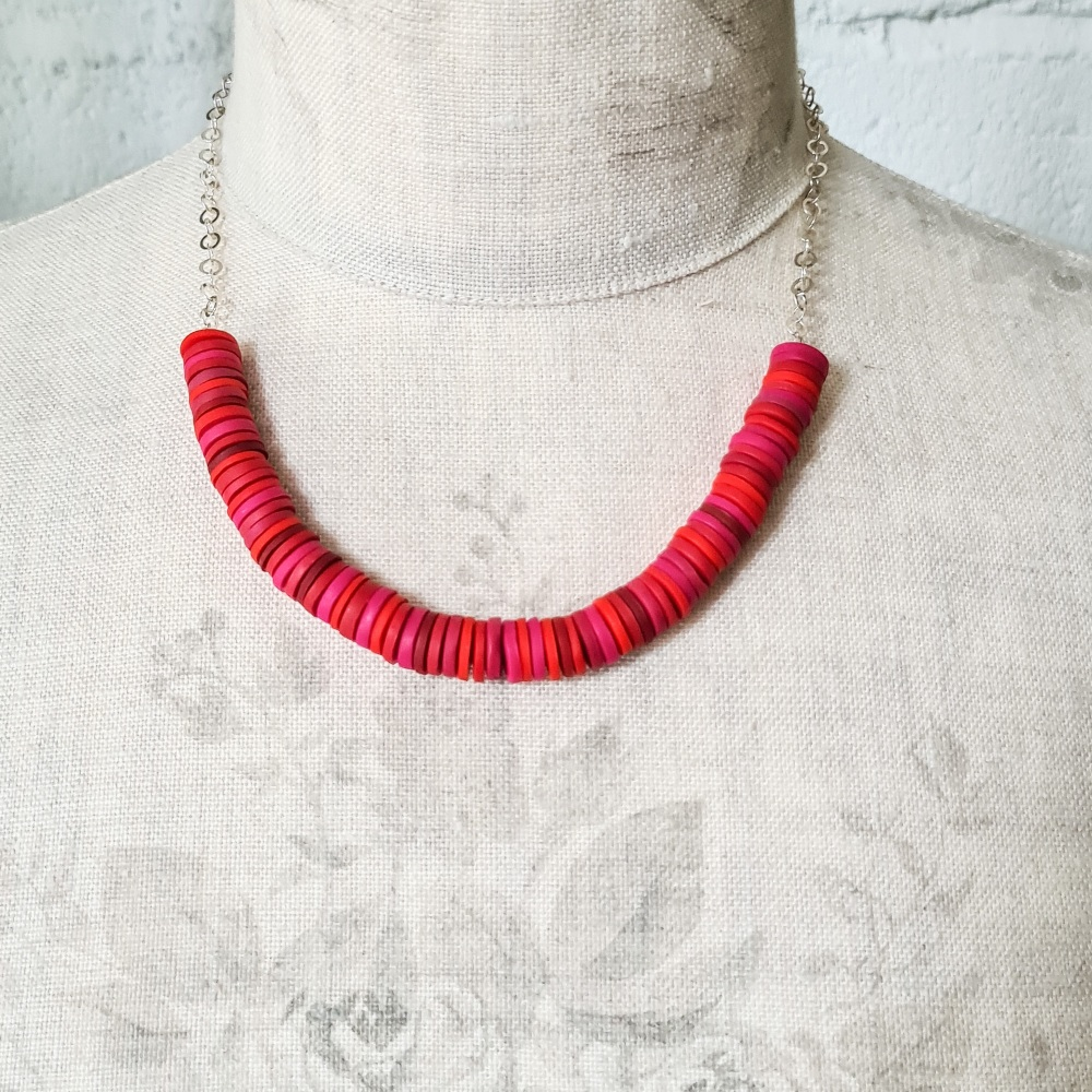 Red and Cerise  Disc Necklace with silver chain