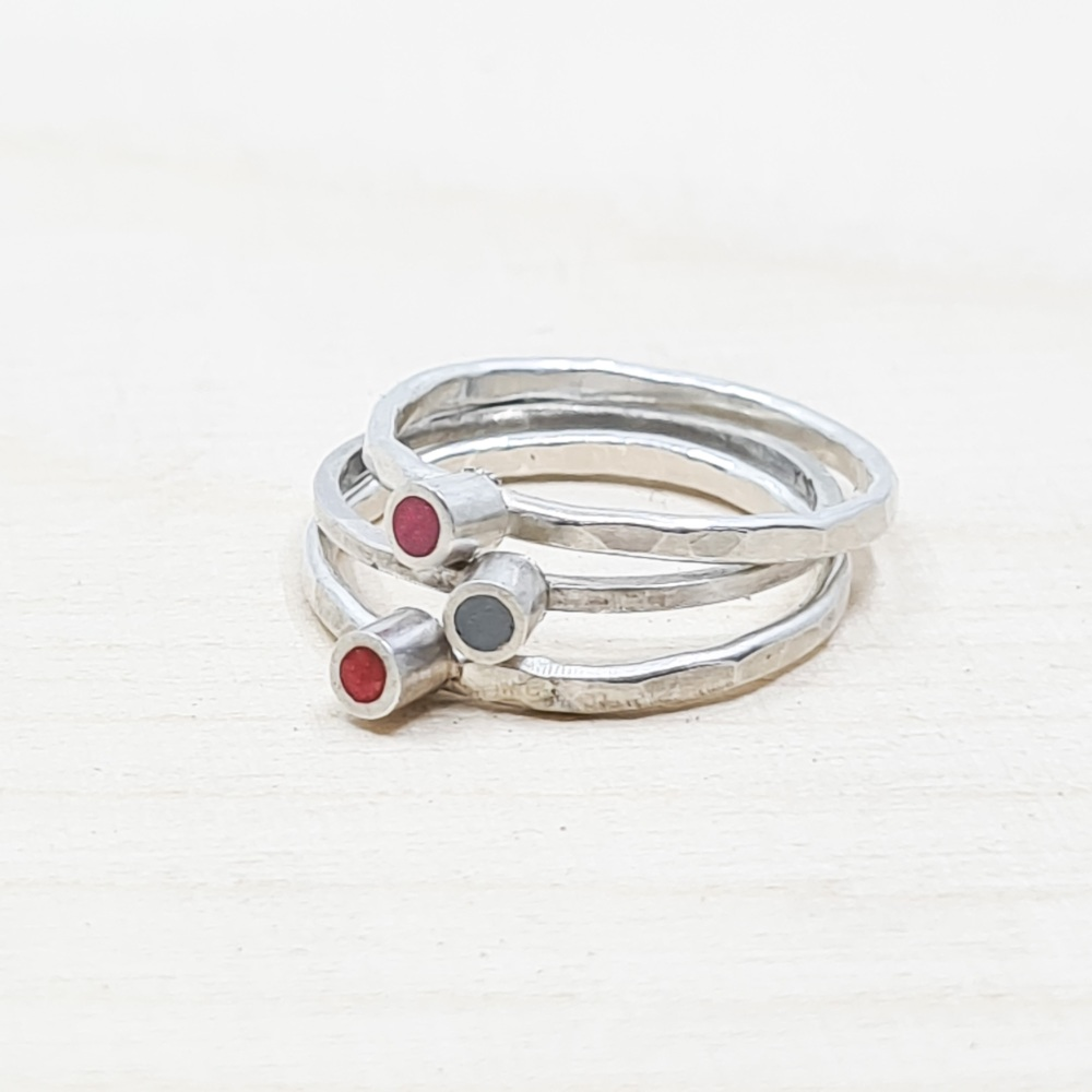 Set of Three Colour Dot Stacking Rings M