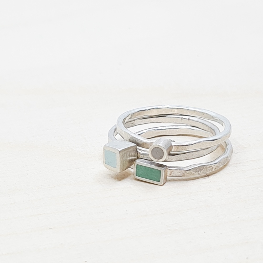Colour Dot Stacking Rings Set of Three Size N