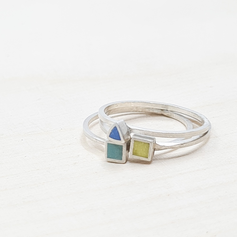 Set of Three Colour Dot Stacking Rings Size Q