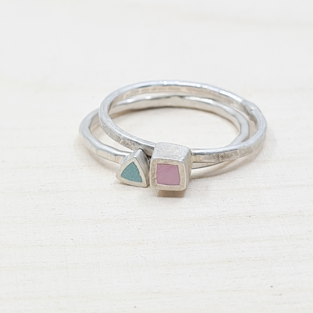 Colour Dot Stacking Rings Set of Two Size O