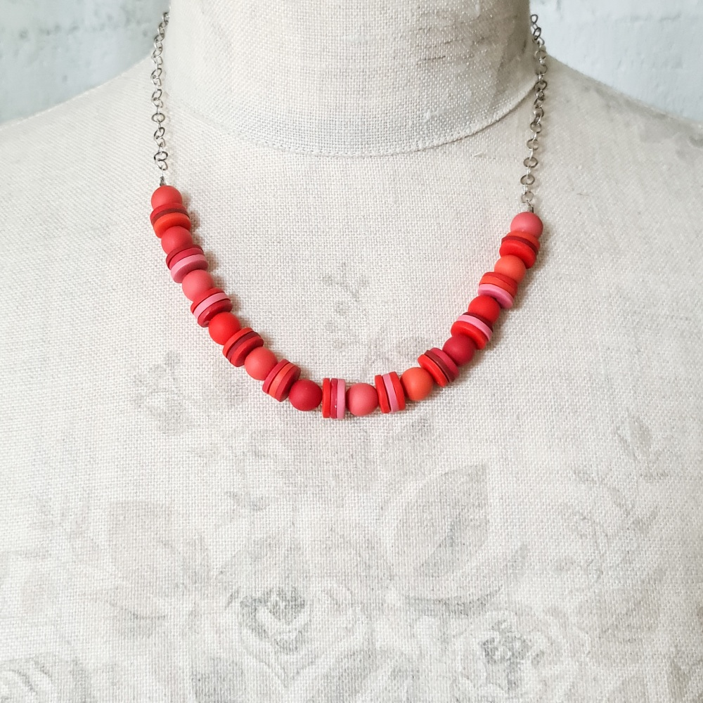 Short Chain Necklace with Pink and Red Handmade Beads