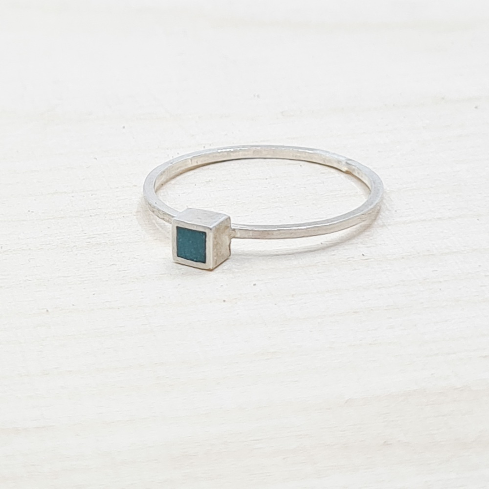 Square Colour Dot Stacking Ring in Dark Turquoise Size S