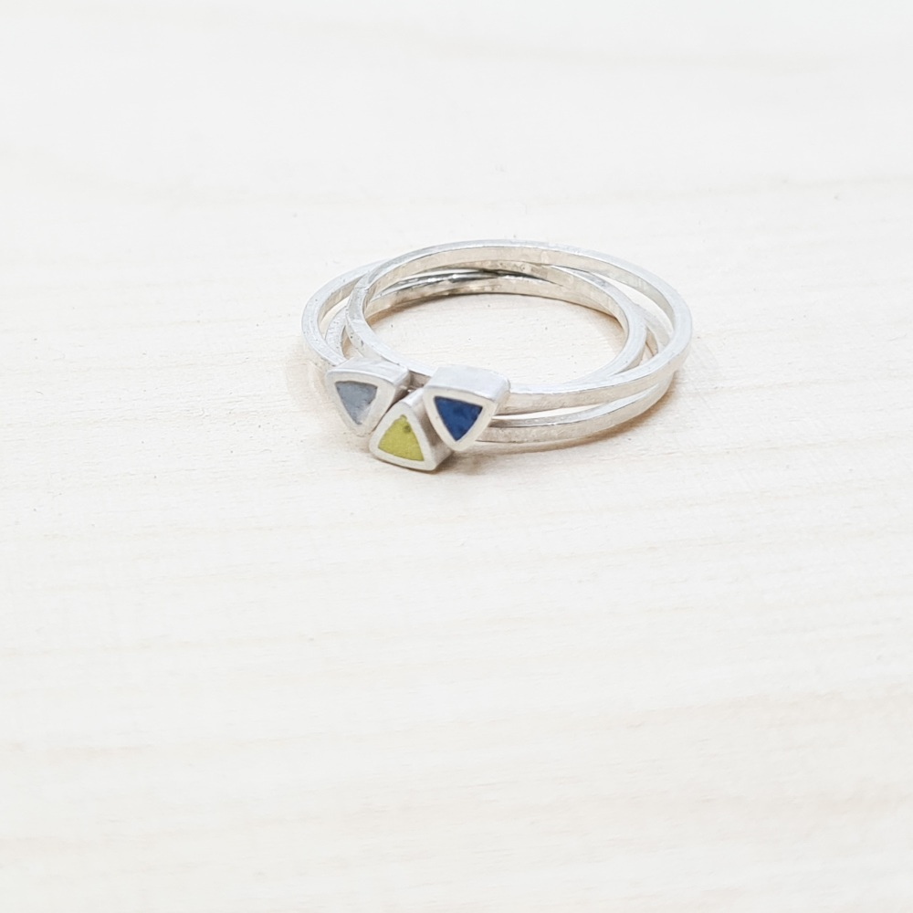 Stacking Ring Set of three triangle Colour Dot rings Size N