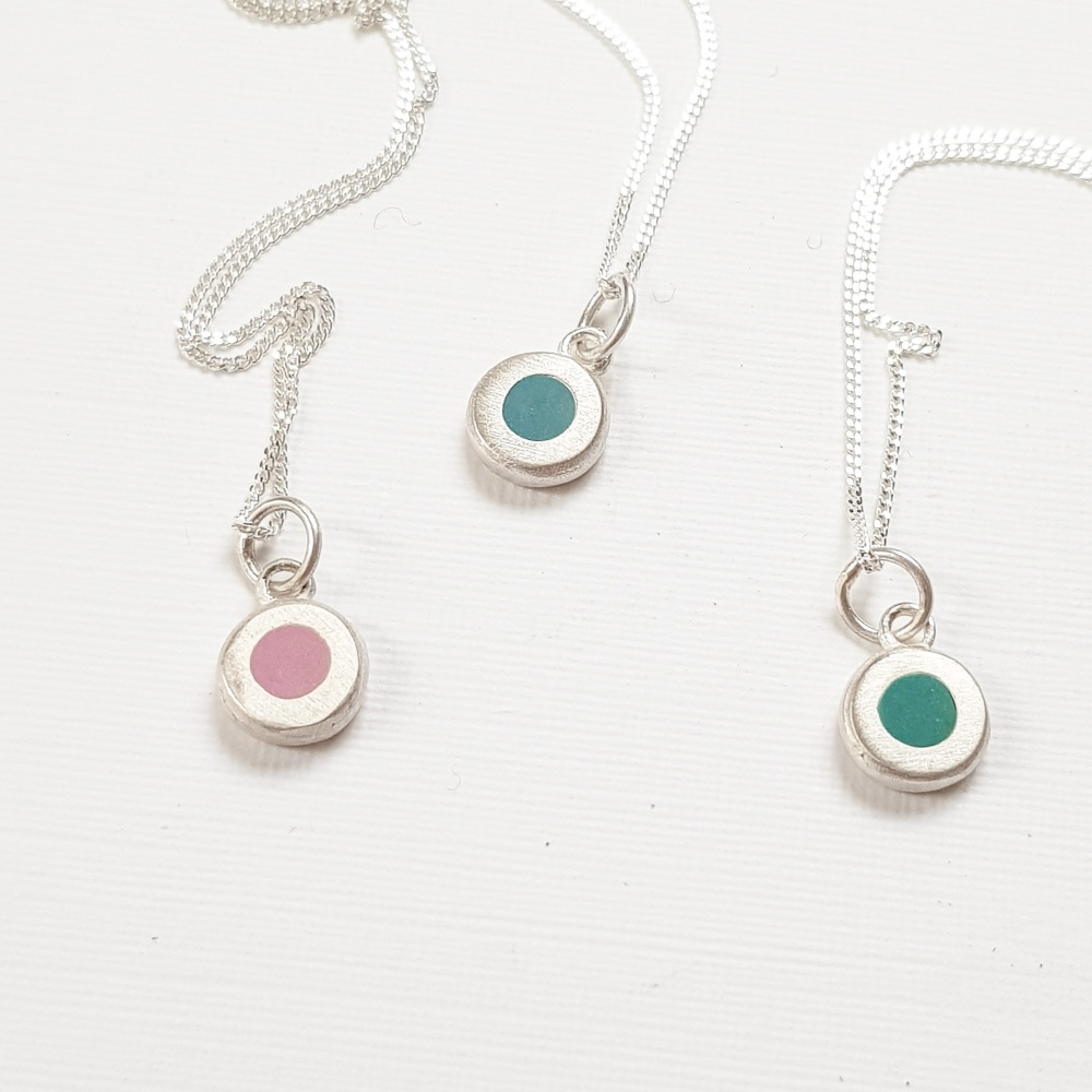 Colour Dot Pendants in a choice of teal green or pink