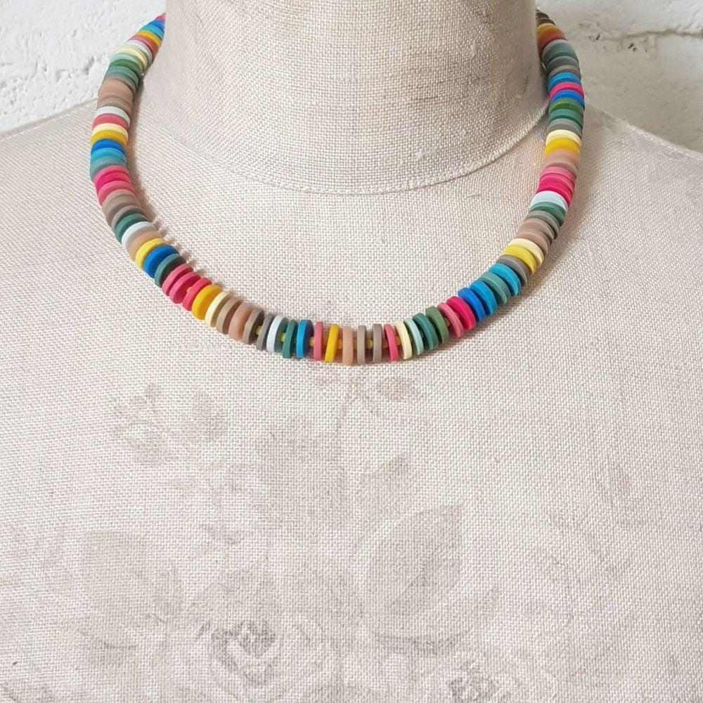 Small Disc Multi Coloured Necklace