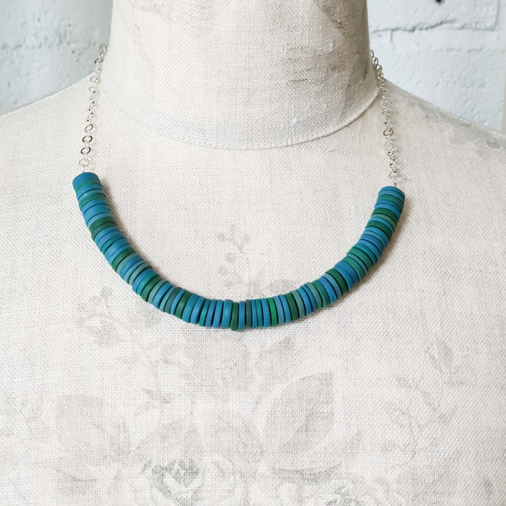 Turquoise and Teal Disc Necklace with silver chain